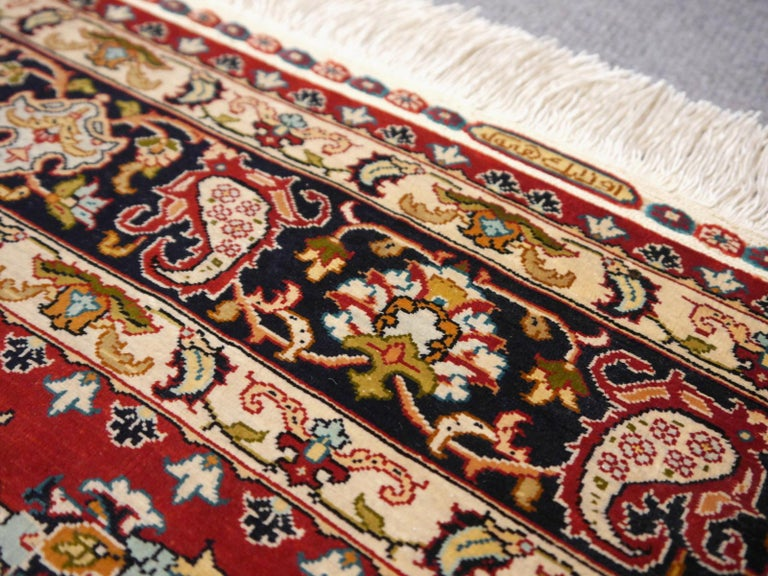 Pure Silk Hereke Ozipek Turkish Rug Signed For Sale 3