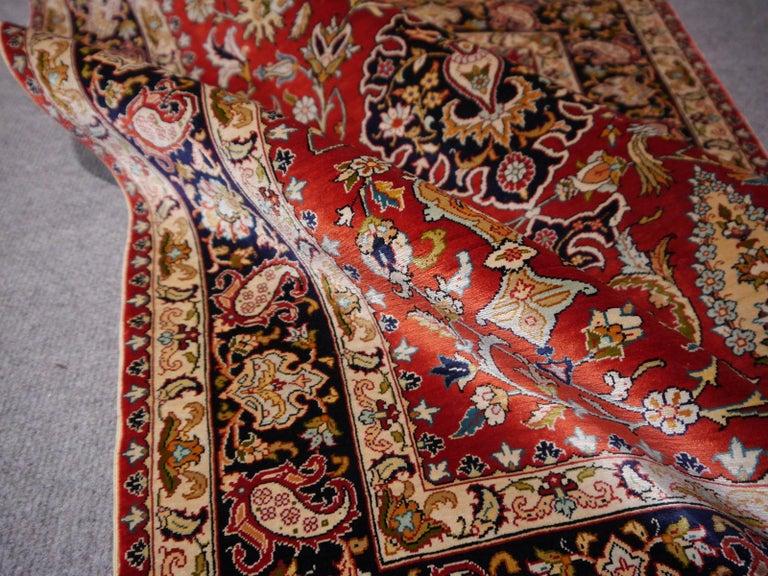 Pure Silk Hereke Ozipek Turkish Rug Signed For Sale 6