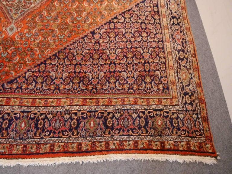 Hand-Knotted Large Semi Antique Bidjar Rug For Sale