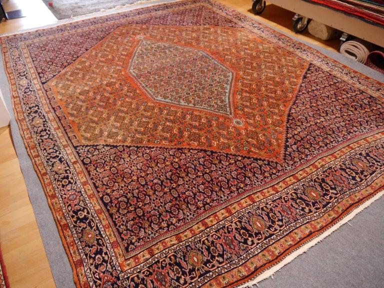 Mid-20th Century Large Semi Antique Bidjar Rug For Sale