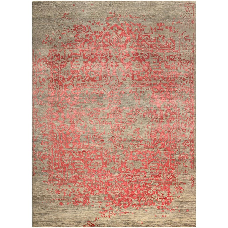 Heriz Modern Design Area Rug Gray, Beige, Red, Salmon, Hand Knotted Wool Silk For Sale