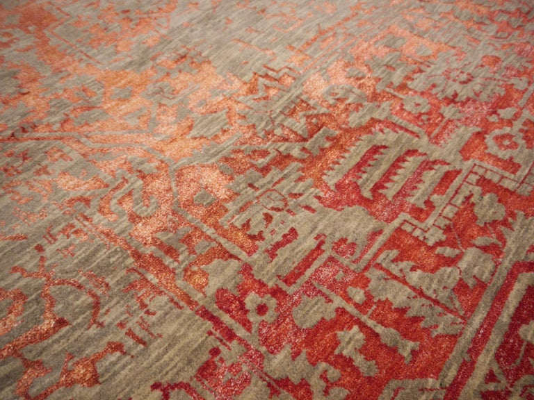 Indian Heriz Modern Design Area Rug Gray, Beige, Red, Salmon, Hand Knotted Wool Silk For Sale