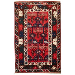 Turkish Rug Hand Knotted Semi Antique Dosemealti Red and Blue Midcentury Carpet