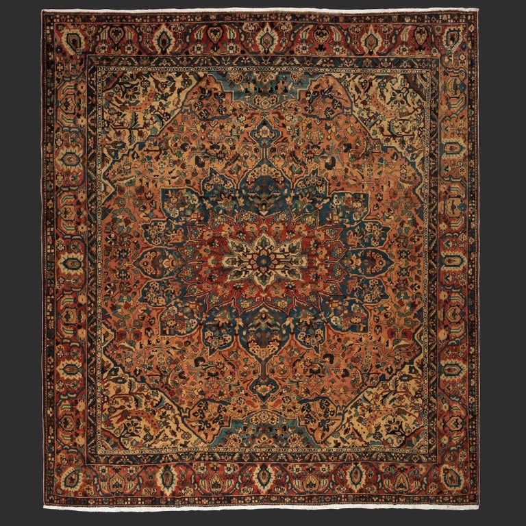 Hand-Knotted Oversize Antique Bakhtiari Carpet For Sale