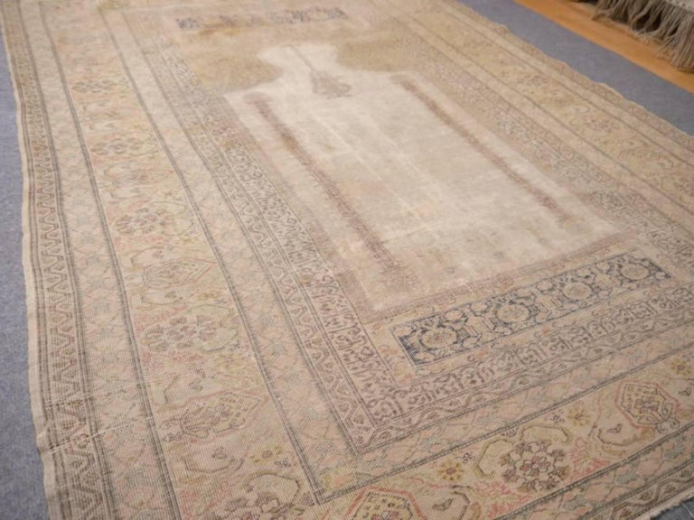 Beautiful antique Turkish distressed silk prayer rug from Bandirma. Great vintage condition with low pile.