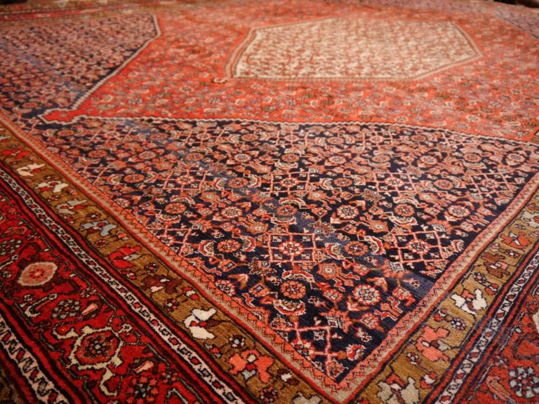 20th Century Midcentury Vintage Persian Bidjar Rug For Sale