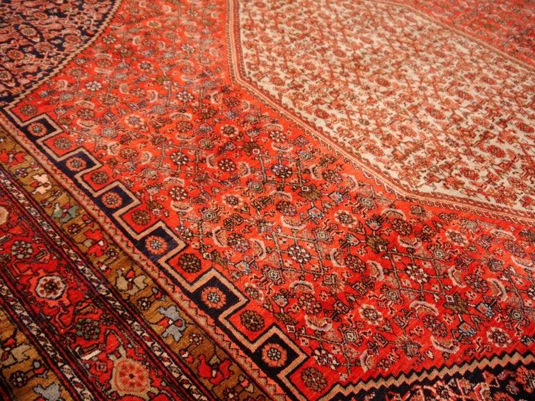 Hand-Knotted Midcentury Vintage Persian Bidjar Rug For Sale