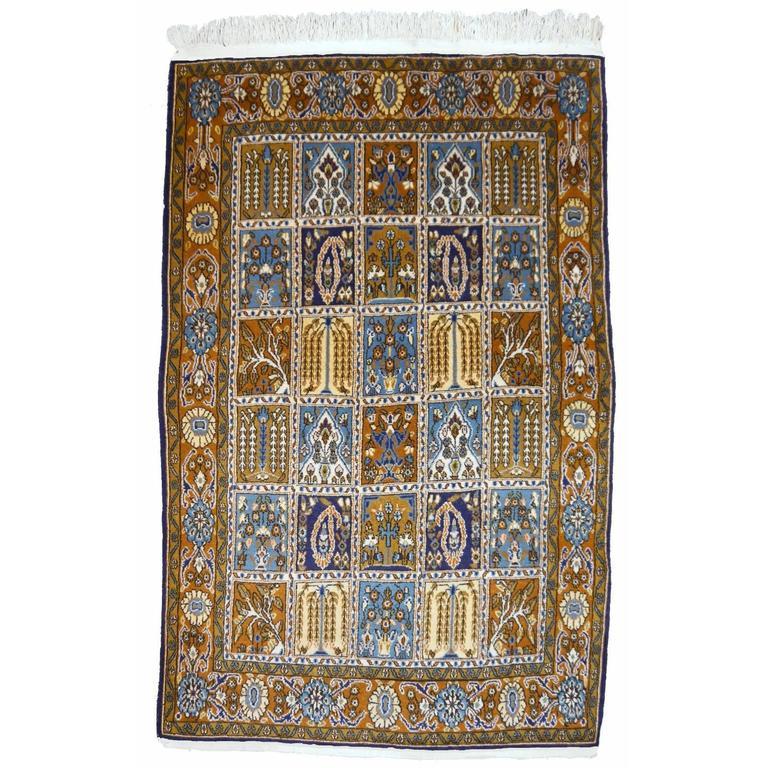 Vintage Qum Panel Design Persian Rug For
