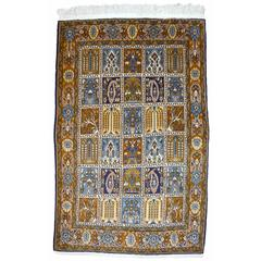 Vintage Qum Panel Design Persian Rug