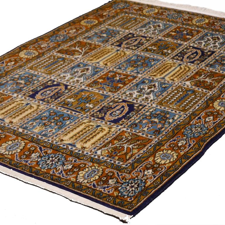 Ivory Wool And Silk Persian Naein Area Rug For Sale At 1stdibs: Vintage Qum Panel Design Persian Rug For Sale At 1stdibs