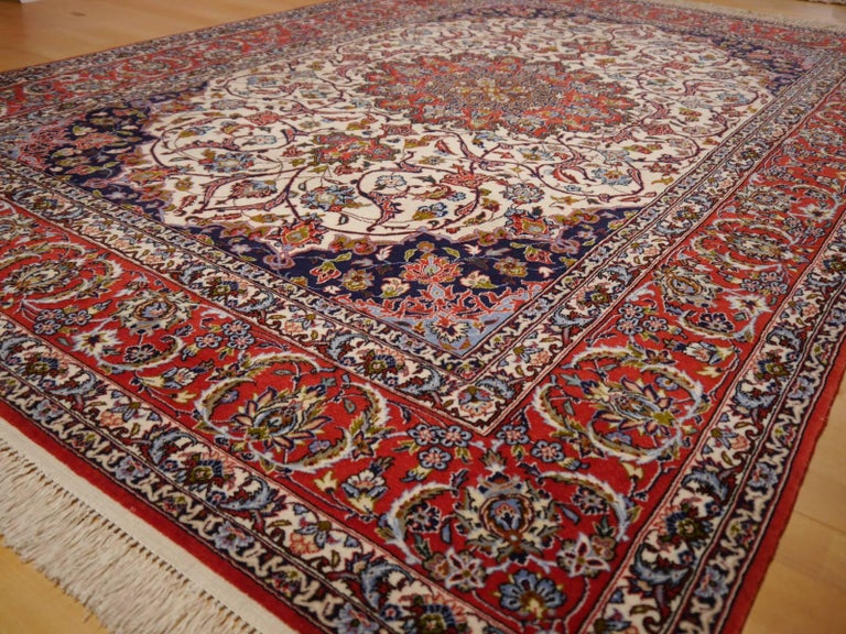 Hand-Knotted Fine Persian Rug Isfahan Kurkwool on Silk For Sale