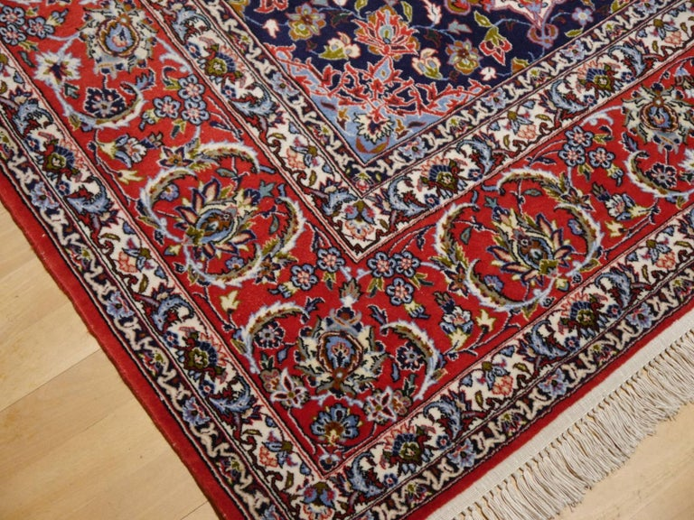 Wool Fine Persian Rug Isfahan Kurkwool on Silk For Sale