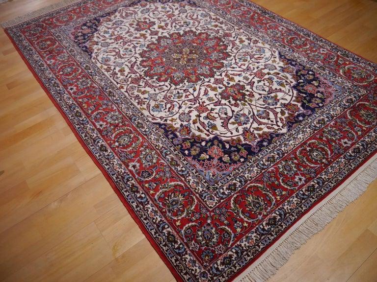 20th Century Fine Persian Rug Isfahan Kurkwool on Silk For Sale
