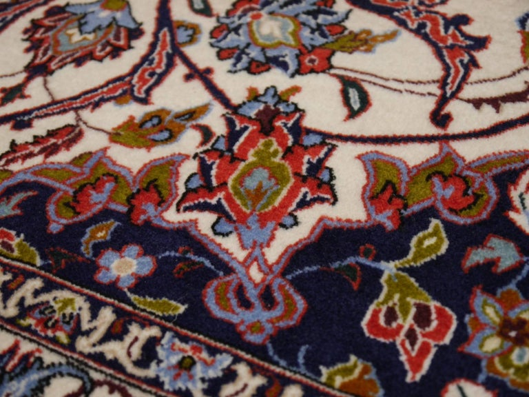 Fine Persian Rug Isfahan Kurkwool on Silk For Sale 1