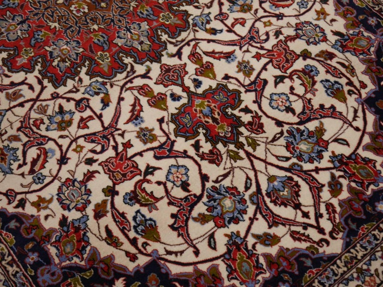 Fine Persian Rug Isfahan Kurkwool on Silk For Sale 2