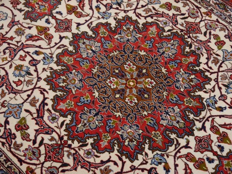 Fine Persian Rug Isfahan Kurkwool on Silk For Sale 3