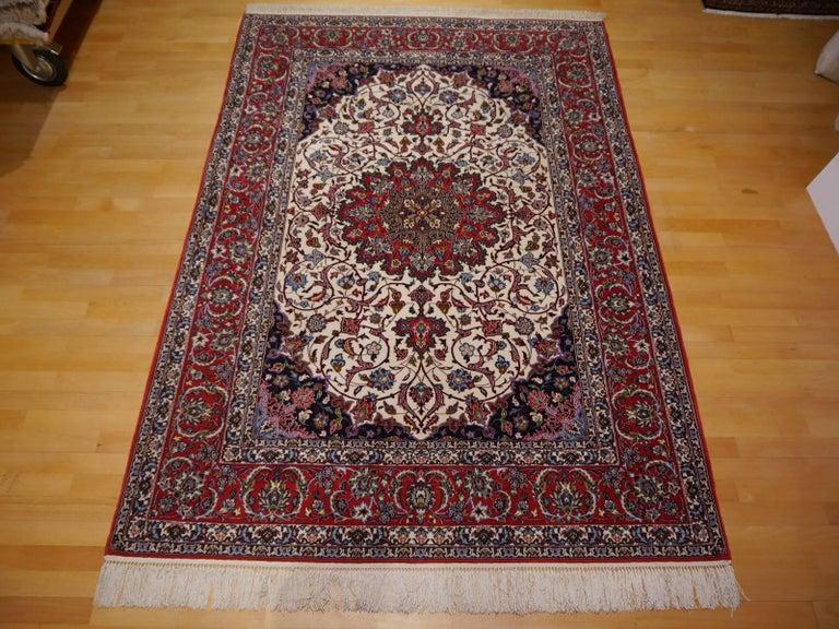 Fine Persian Rug Isfahan Kurkwool on Silk For Sale 4