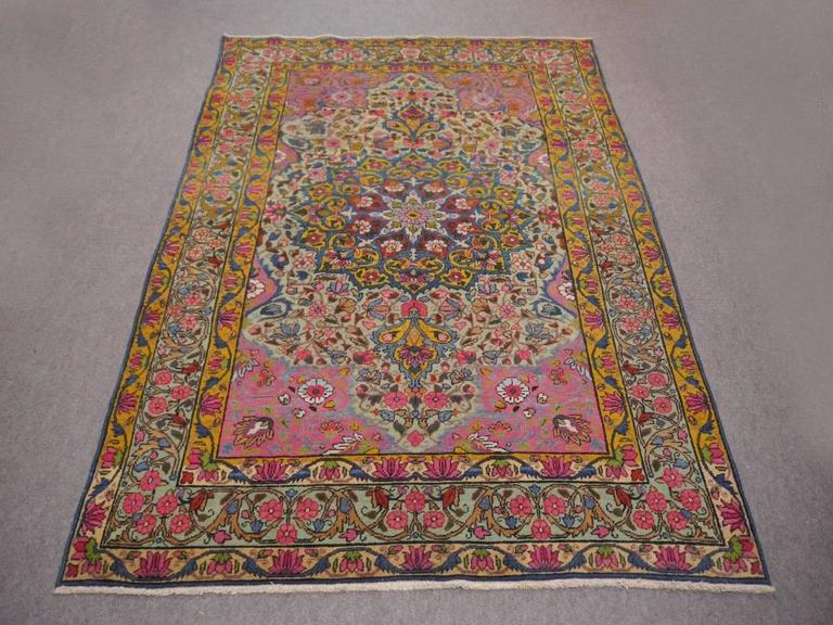 Hand-Knotted Antique Persian Kerman Rug with Unique Colors For Sale