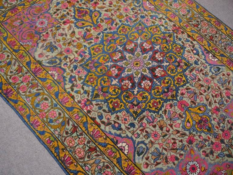 20th Century Antique Persian Kerman Rug with Unique Colors For Sale