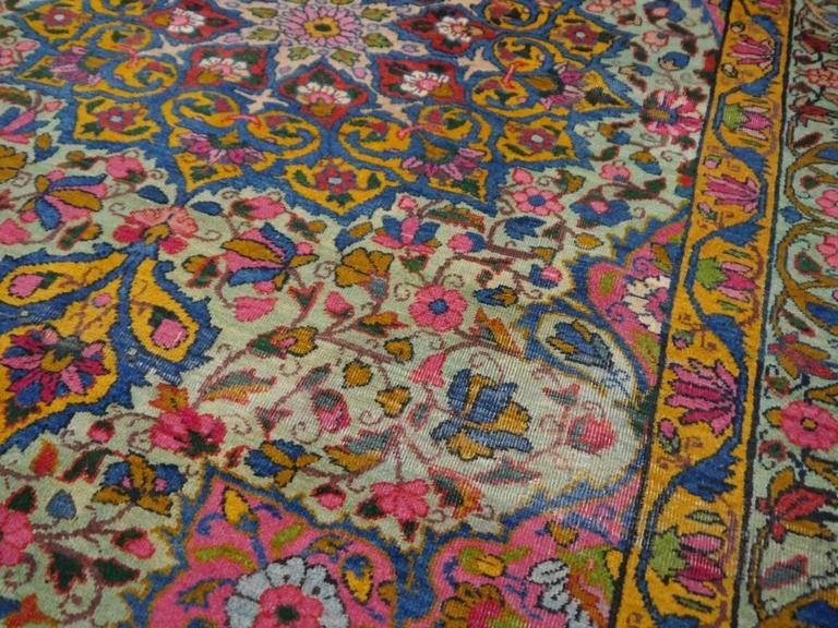Antique Persian Kerman Rug with Unique Colors For Sale 1