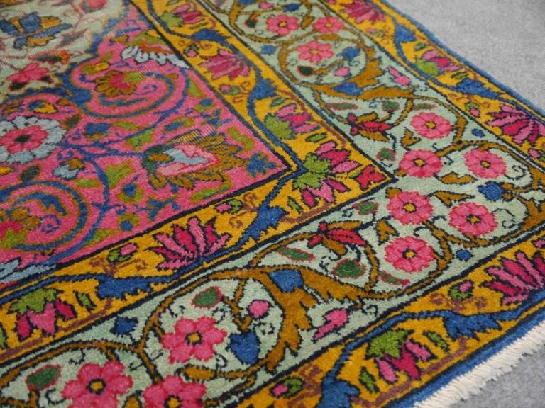 Antique Persian Kerman Rug with Unique Colors For Sale 3