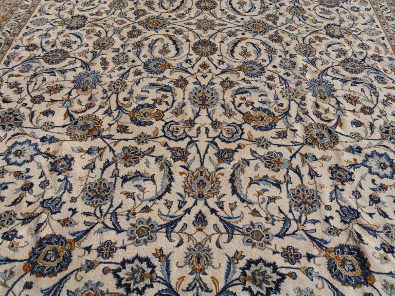 Hand-Knotted Oversize Vintage Persian Rug 18 x 12 ft Beige Grey Blue For Sale