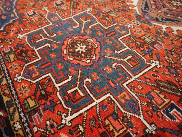 Hand-Knotted Heriz Karaja Semi Antique Persian Rug For Sale
