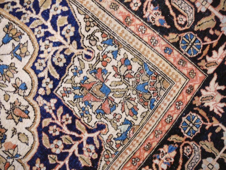 Hand-Knotted 19th Century Mohtasham Kashan Fine and Rare Collectors Rug For Sale
