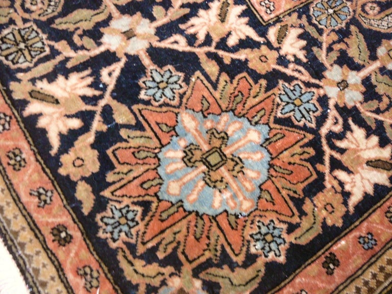 Wool 19th Century Mohtasham Kashan Fine and Rare Collectors Rug For Sale