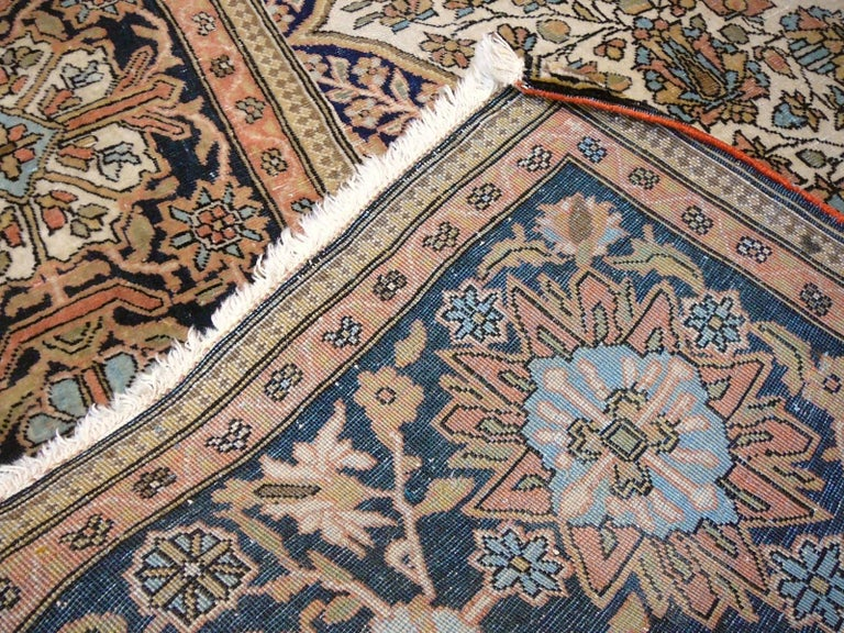 19th Century Mohtasham Kashan Fine and Rare Collectors Rug For Sale 1