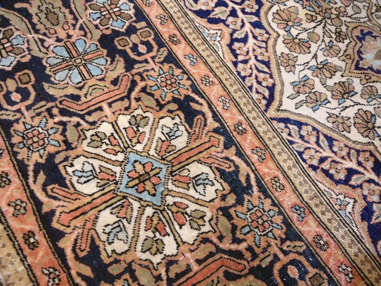 19th Century Mohtasham Kashan Fine and Rare Collectors Rug For Sale 2