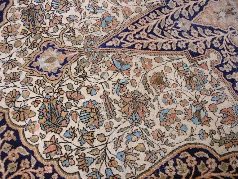 19th Century Mohtasham Kashan Fine and Rare Collectors Rug For Sale 3
