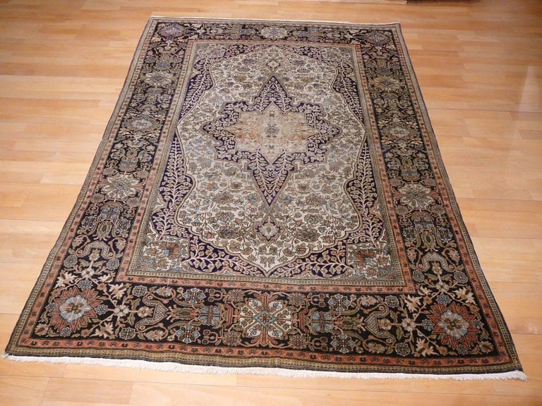 19th Century Mohtasham Kashan Fine and Rare Collectors Rug For Sale 7