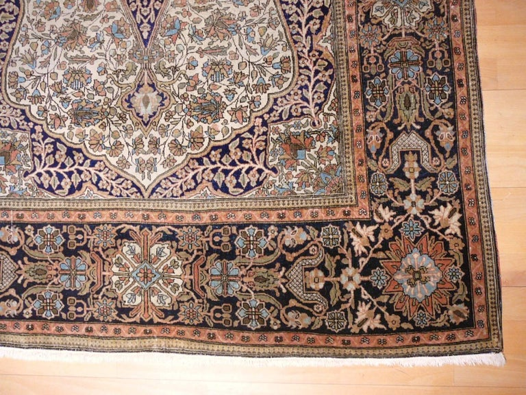 19th Century Mohtasham Kashan Fine and Rare Collectors Rug For Sale 8