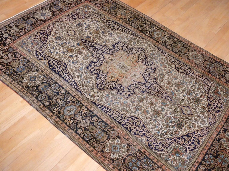 19th Century Mohtasham Kashan Fine and Rare Collectors Rug For Sale 9