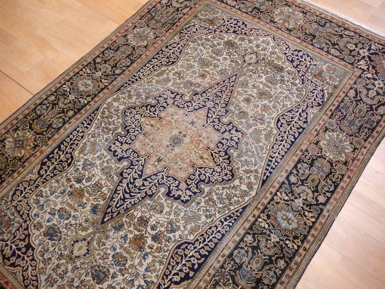 19th Century Mohtasham Kashan Fine and Rare Collectors Rug For Sale 11