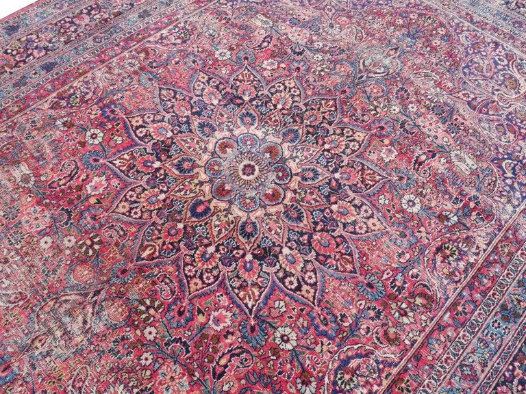 Vintage Distressed Persian Midcentury Worn Rug At 1stdibs