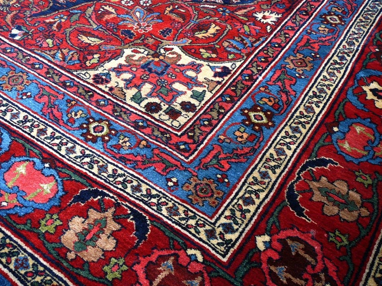 Hand-Knotted Oversize Exquisite Antique Persian Bidjar For Sale