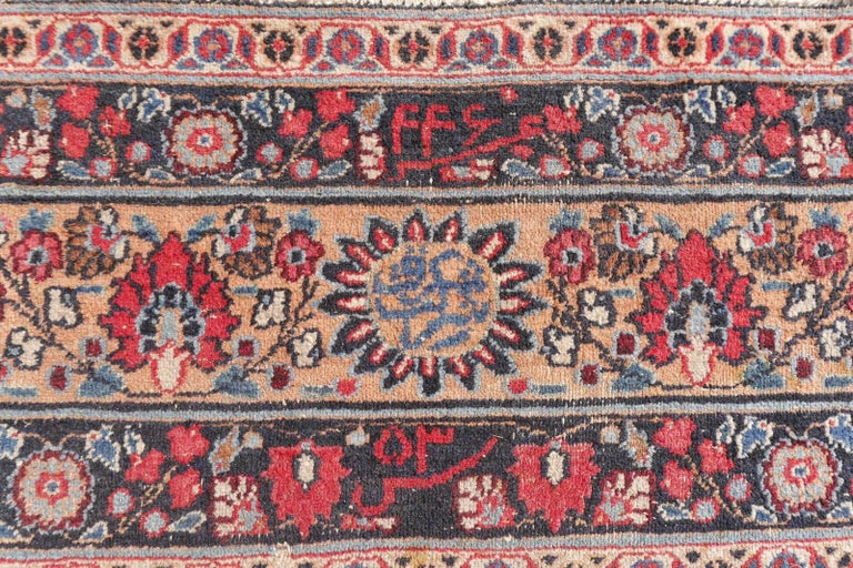 Hand-Knotted Distressed Persian Rug Dorokhsh Garden of Paradise, Signed Semi Antique Carpet For Sale