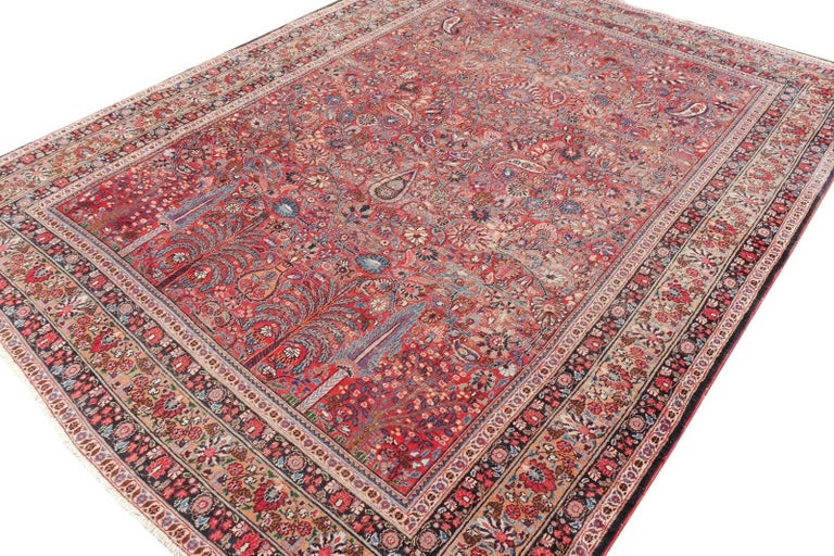 Distressed Persian Rug Dorokhsh Garden of Paradise, Signed Semi Antique Carpet 5