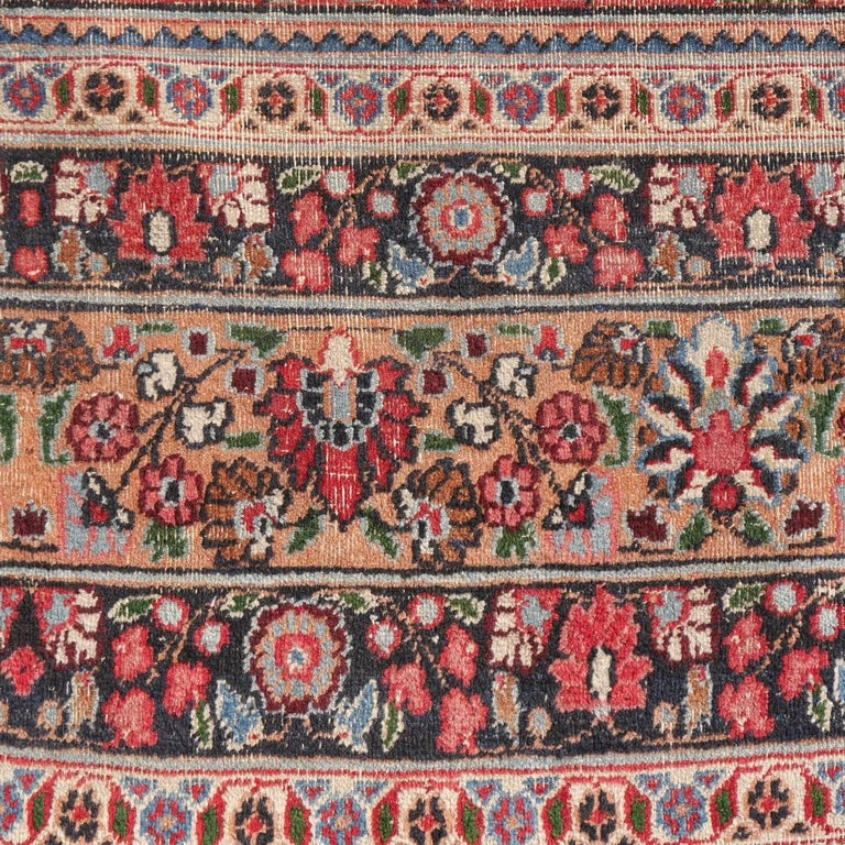 Distressed vintage Rug Garden of Paradise, Signed Semi Antique Carpet For Sale 1