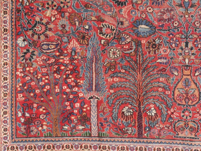 Distressed Persian Rug Dorokhsh Garden of Paradise, Signed Semi Antique Carpet For Sale 4