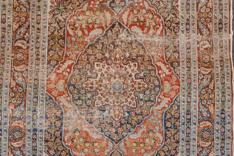 Hand-Knotted Persian Rug Haji Jalili Antique Distressed Carpet For Sale