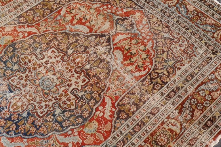 Wool Persian Rug Haji Jalili Antique Distressed Carpet For Sale