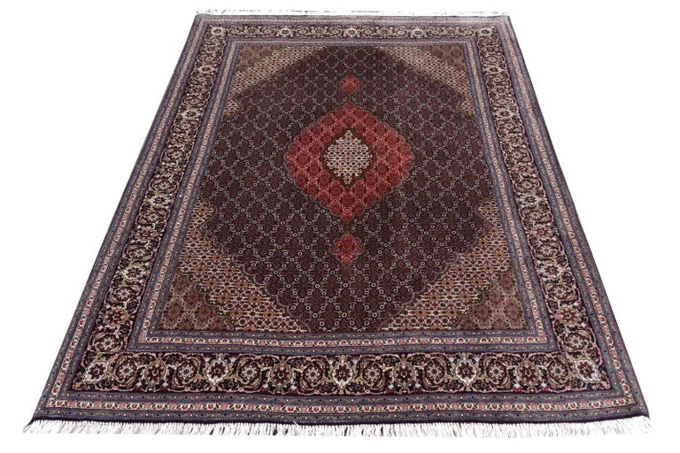 Hand-Knotted Black Persian Rug Tabriz Mahi Wool and Silk Carpet For Sale
