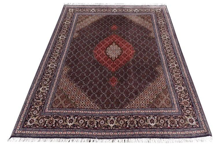 Black Persian Rug Tabriz Mahi Wool and Silk Carpet 3