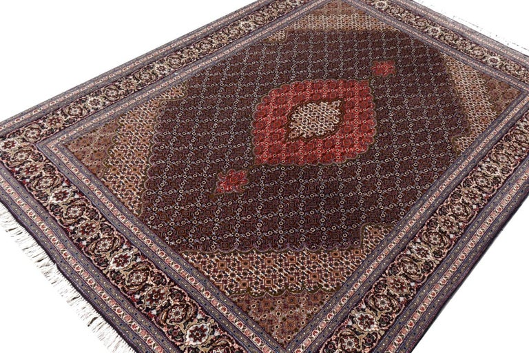 Black Persian Rug Tabriz Mahi Wool and Silk Carpet 4