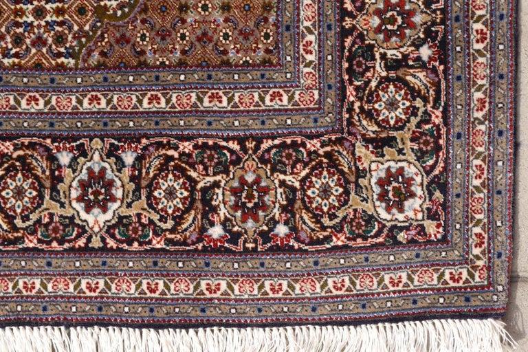 Late 20th Century Black Persian Rug Tabriz Mahi Wool and Silk Carpet For Sale
