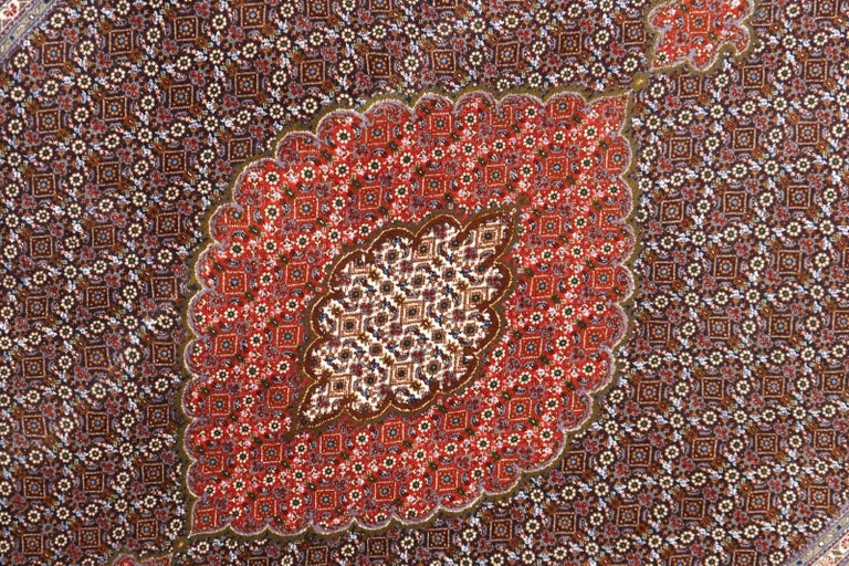 Black Persian Rug Tabriz Mahi Wool and Silk Carpet For Sale 1