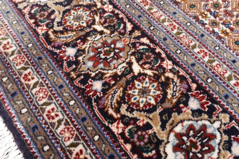 Black Persian Rug Tabriz Mahi Wool and Silk Carpet For Sale 3